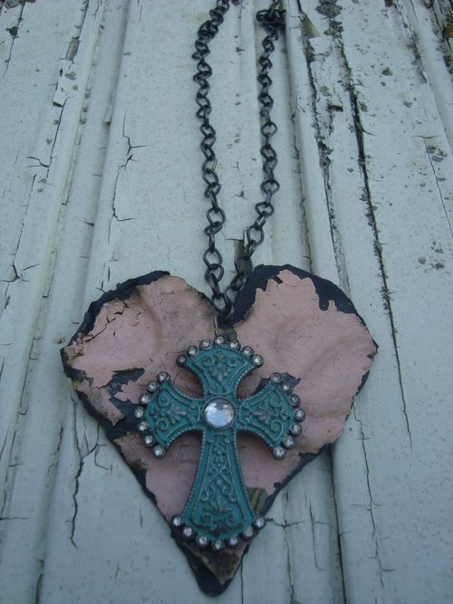 Pink Heart with Patina Green Cross