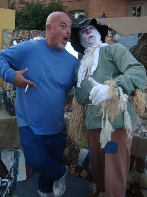 "Bobby ""scaring"" up some fun with the Scarecrow"